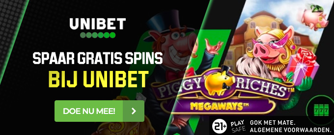 Dubbel chance op free spins in Piggy Riches Megaways van Unibet.be